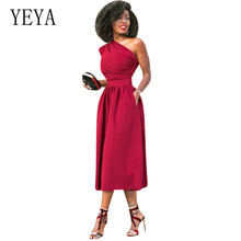 YEYA Women's Casual Basic One Shoulder Elegant Red Blue Black Bodycon Dress Summer Femme Hollow Out Sleeveless Club Party Dress цена и фото