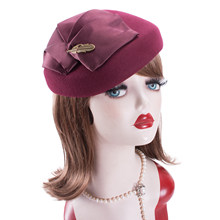 Lawliet bayan 1940s Vintage görünüm yün keçe Tam bere Casque kokteyl Pillbox şapka kilisesi Fascinator A599