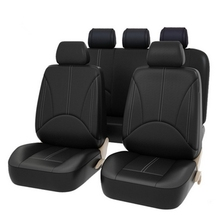 Tampas de assento de carro conjunto universal couro artificial frente tampas de assento de carro volta interior quatro estações protetor de assento
