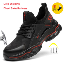 XPUHGM New Men Women Safety Work Shoes Boots Male Breathable Construction Work Shoes Steel Toe Indestructible Safety Work Boots