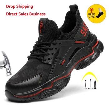 XPUHGM New Men Women Safety Work Shoes Boots Male Breathable Construction Steel Toe Indestructible - discount item  49% OFF Men's Shoes