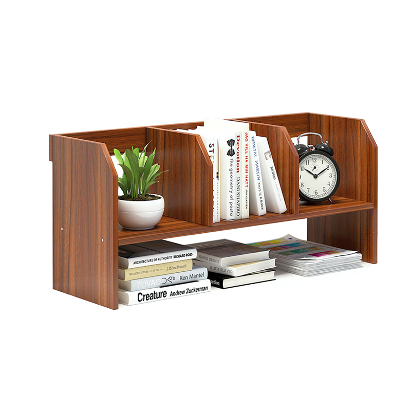 Wood Bookcase Desktop Storage Organizer