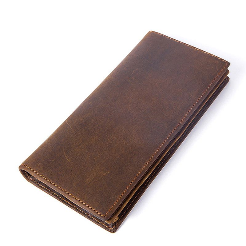 Men's Wallet Prettyzys Genuine-Leather Purse Clutches Crazy-Horse Long Man for of Made