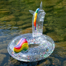 Clear Glitter Swimming Ring for Kids Flamingo Unicorn Swim Circle Summer Inflatable Pool Float Water Mattress Pool Party Toys