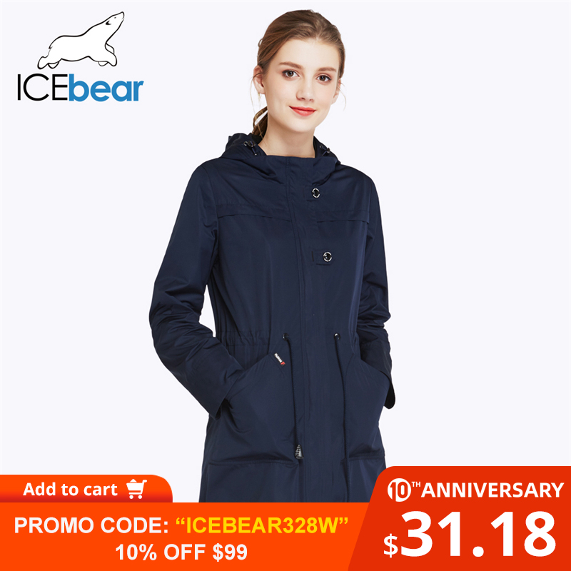 ICEbear 2019 O-Neck Collar Fall New Arrival Trench Coat Solid Color Woman Fashion Slim Coats Hat Detachable 17G123D