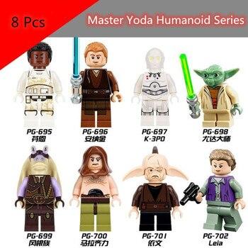 цена на 8 Pcs/set Star Wars Figure Series Star Wars Building Baby  Blocks Starwars Building Blocks Kids Toys Figures