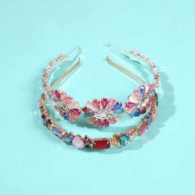 ZA diademas de flores de diamantes de imitación completo mujeres de moda aro de cristal para cabello nupcial tocados brillantes accesorios para el cabello para fiesta de boda