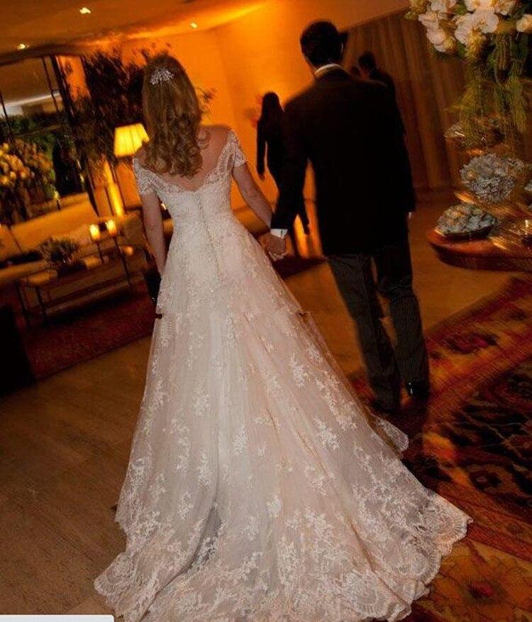 White Lace Bridal Dresses Short Sleeve A Line Wedding Dress 2016 V Neck Beaded Bridal Gown Sweep Train Custom Vestidos De Noiva