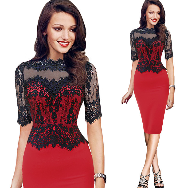 Plus Size Black Lace Round-Neck Half Sleeve Patchwork Women Cocktail Dress Elegant Fitted Knee Length Ladies Dresses Sukienki