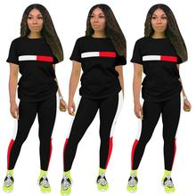 2020 New Summer Color Block Sexy Two Piece Tracksuit  Women Striped Print T-Shirt  +Bodycon Long Pants Casual Sweat Suits  Set casual striped color block dress