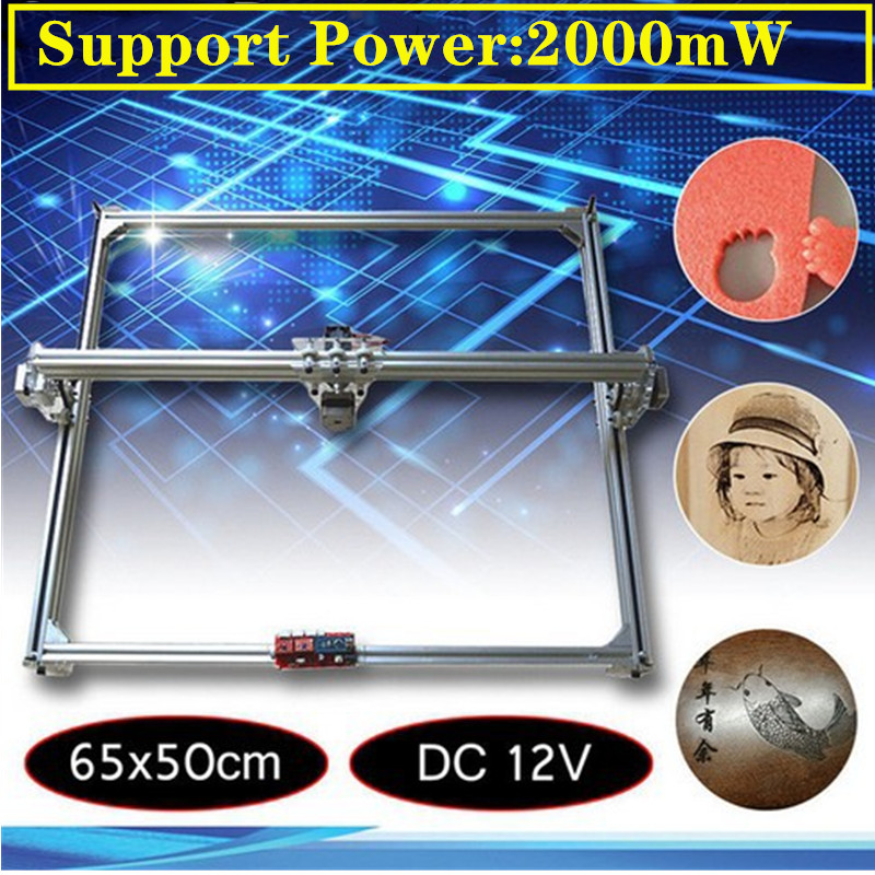 50*65cm Mini 2000MW  CNC Laser Engraving Machine 2Axis DC 12V DIY Engraver Desktop Wood Router/Cutter/Printer+ Laser