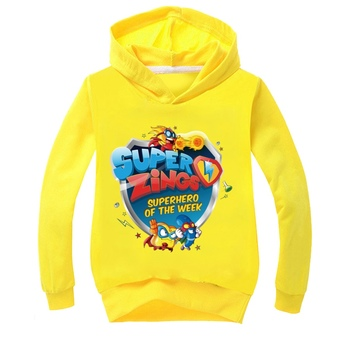 SUPER FELIPE wiosna jesień Super Zings drukuje dziewczyny chłopcy bluzy dzieci bluza z kapturem ubrania z długim rękawem swetry topy nastolatki tanie i dobre opinie BIQUINI COTTON Poliester CN (pochodzenie) Nowość Cartoon REGULAR Pełna Pasuje prawda na wymiar weź swój normalny rozmiar