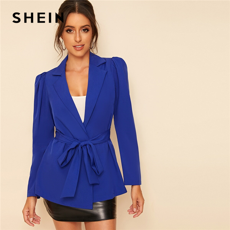 SHEIN Blue Notch Collar Puff Sleeve Self Belted Solid Blazer Women Spring Autumn Coat Office Lady Elegant Blazers