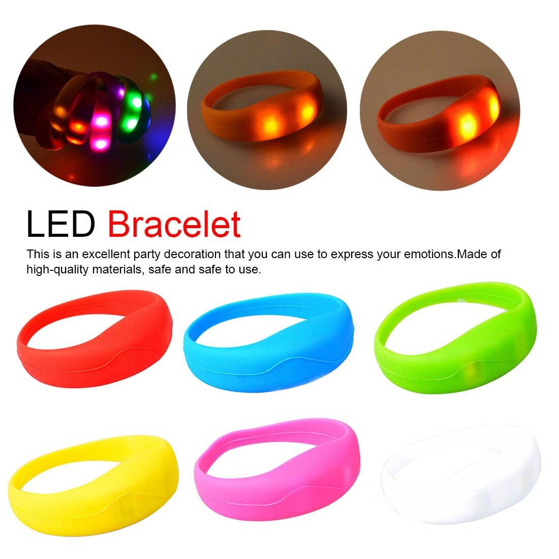 Orange Light Up LED Bracelet Flashing Glow Wrist Band Voice Blinking Party UK