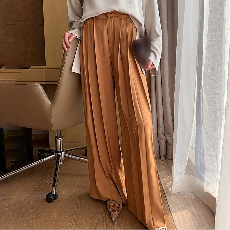 Image 3 - TWOTWINSTYLE Casual Wide Leg Pants Women High Waist Ruched Pants Large Size Trousers Female Fashion Clothes 2019 Autumn New-in Pants & Capris from Women's Clothing
