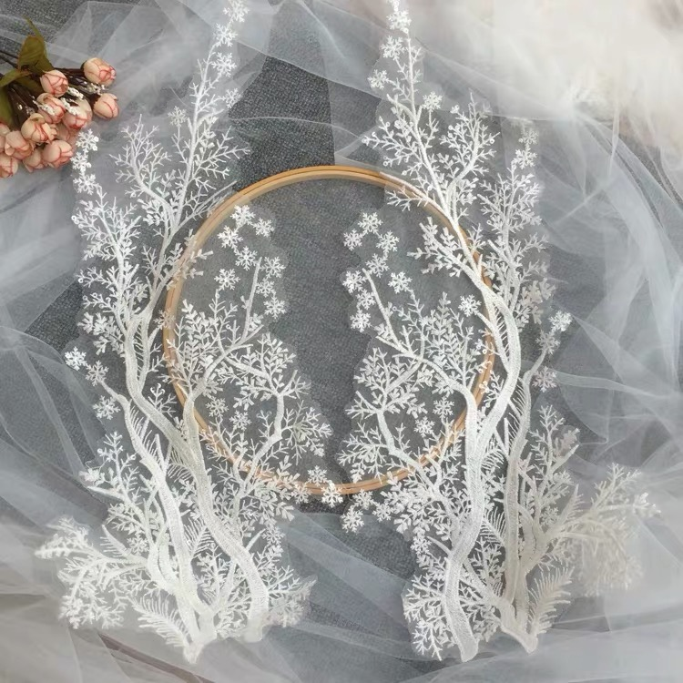 Tree Pattern  Lace Applique Wedding Dress  Patch Children's Clothing  Handmade DIY Accessories White Lace Decoration Embroidery