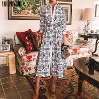 Women Elegant Casual Midi Shirt Dress 2019 Autumn Winter Long Sleeve A Line Festival Beach Dresses Elegant Plus Szie Clothes
