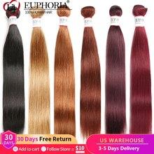 Steil Haar 3 Bundels 99J Rode Burg 4 Natuurlijke Kleur Braziliaanse Remy Human Hair Extension Bundels Haar Weven 1/3Pcseuphoria
