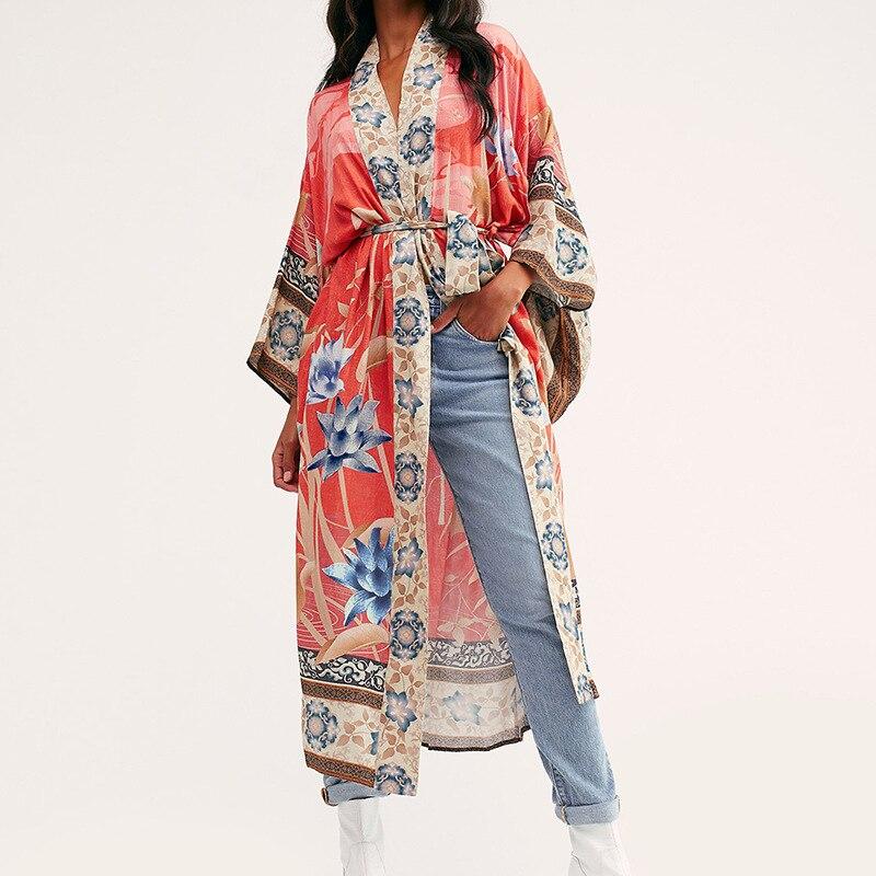 FORERUN Women Beach Cloak Print Cover Up Long Maxi Wrap Dress Summer Multi Kimono Cardigan Pareo Beachwear Saida De Praia Longa