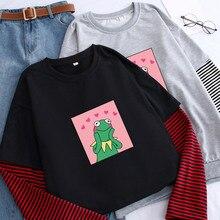 Womens Frog Print Fake Two Pieces T-shirts O Neck Stripe Long Sleeve Female Tshi