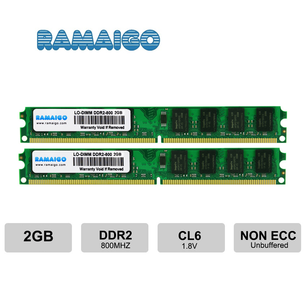 DDR2 PC2-6400 800mhz DDR2 4gb 2GB 8GB Ram Desktop DDR2-800 Udimm 1.8V CL5 240-Pin Non-ECC Unbuffered Desktop Memory Modules