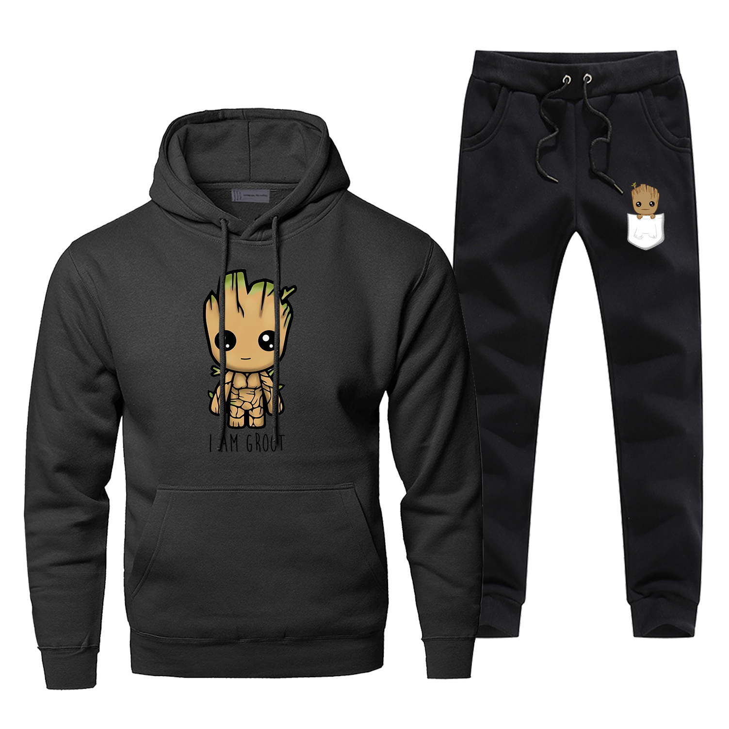 Fashion Marvel Avengers Hoodie Tracksuit I Am Groot Print Hoodies+pants Sportswear Men Two-piece Sets Fleece Warm Sweatpants