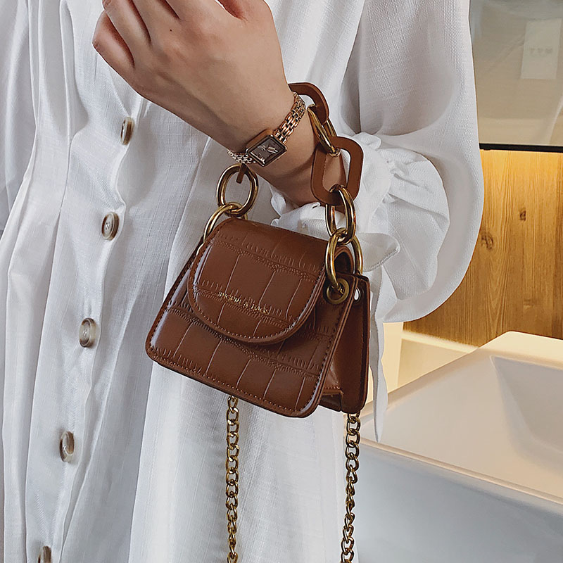 Stone Pattern PU Leather Crossbody Bags For Women Thick Chain Design Shoulder Messenger Bag Lady Mini Tote Lipstick Handbags