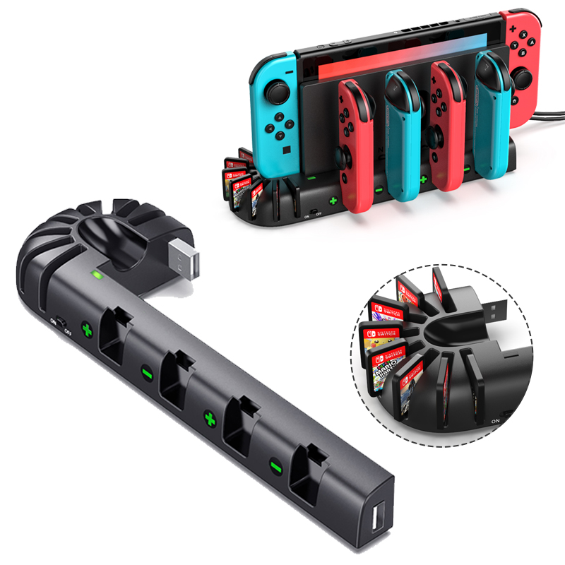 For Nintend Switch Charger 4 Port Joycons Controller Gamepad Charging Dock Station Switch Console Holder Charger 8 Game Slots