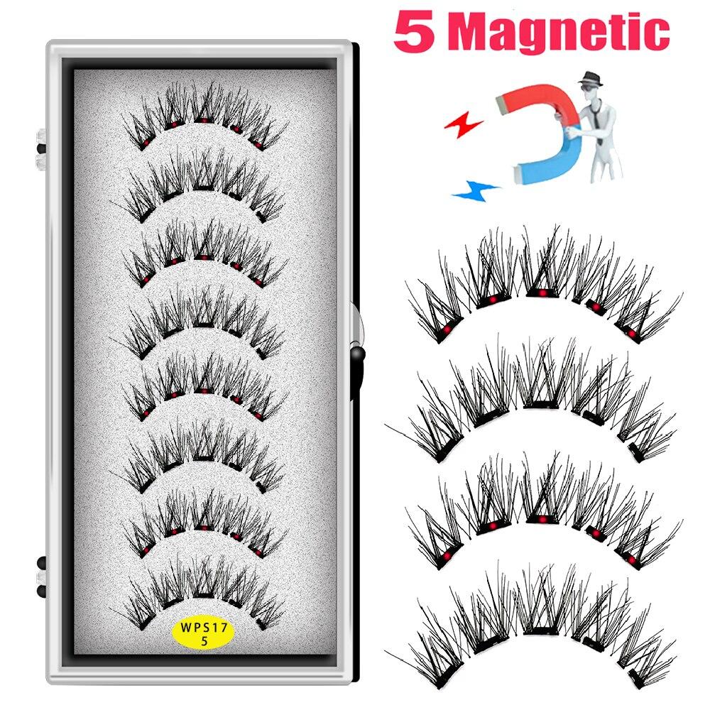 LEKOFO 4 Pairs 5 Magnet Magnetic False Eyelashes Handmade Mink Eye Lashes faux cils magnetique 3D Natural magnetic Lashes WSP 2