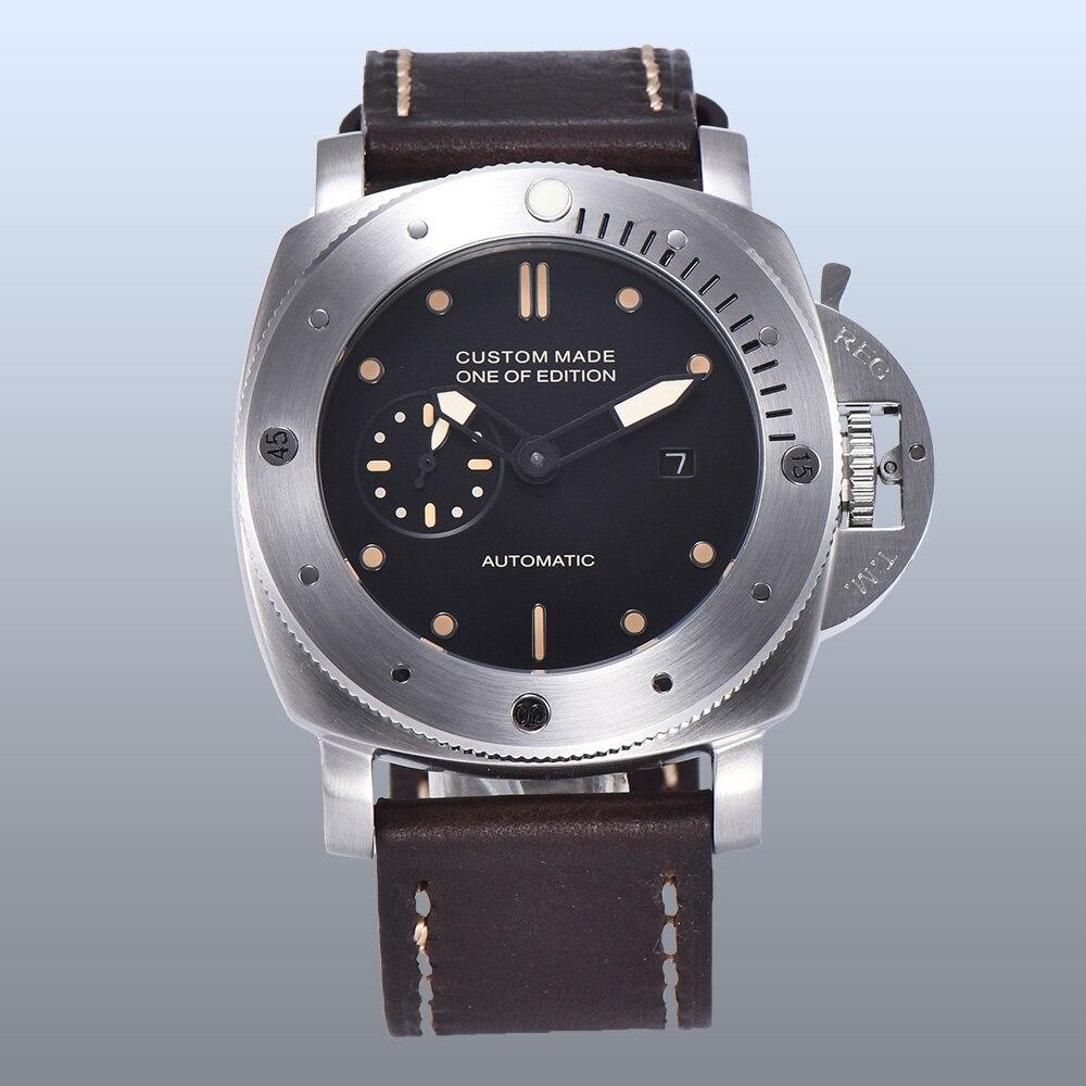 Parnis montre 47mm automatique boîtier de montre PVD haute qualité bracelet en cuir remontage automatique en acier inoxydable lumineux S1 3 à main-in Montres mécaniques from Montres    1