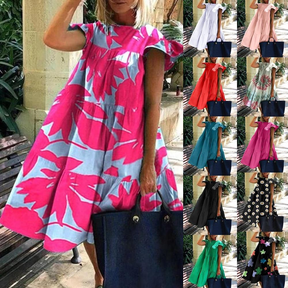 Women Vintage Floral Print Loose top 2020 Summer O-neck Petal Short Sleeve top shirt Elegant Party long shirt dropshipping(China)
