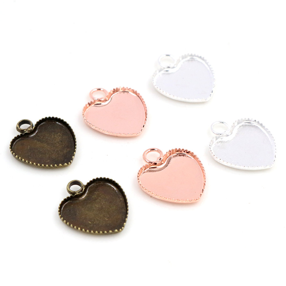 20pcs/lot 12mm Inner Size Bright Silver Color Rose Gold Color Material Heart Style Cabochon Base Cameo Setting Charms Tray