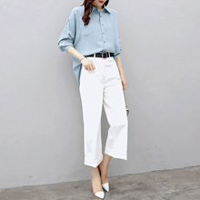 Womens 2019 New Fashion Two-piece Pants Suit Mature