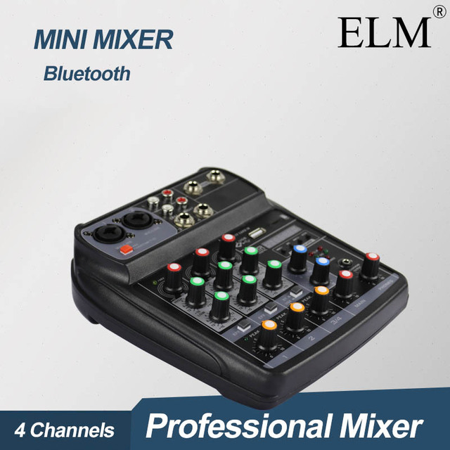 ELM AI 4 Karaoke Audio Mixer Mixing Console Compact Sound Card Mixing Console Digital BT MP3 USB for Music DJ recording