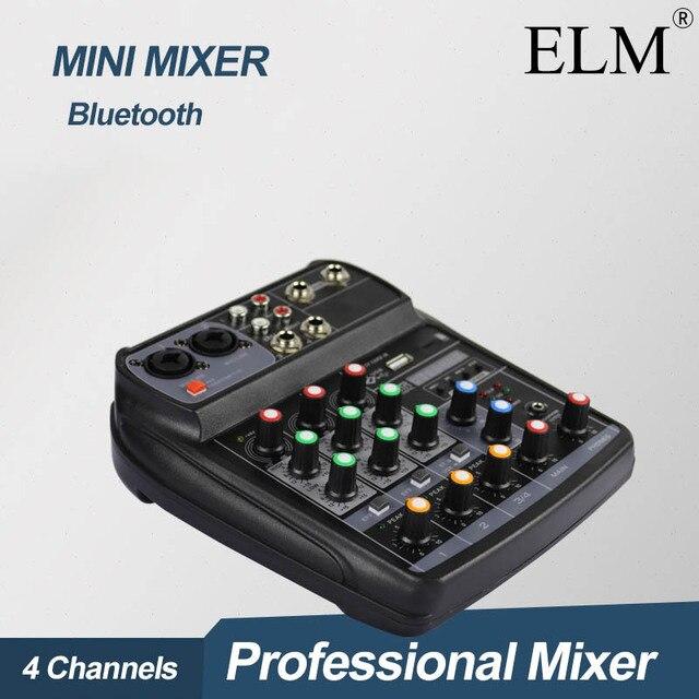 ELM AI 4 Karaoke mikser Audio konsola miksująca kompaktowa karta dźwiękowa konsola miksująca cyfrowy BT MP3 USB do nagrywania muzyki DJ
