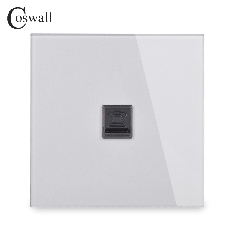 COSWALL Crystal Tempered Glass Panel Wall Socket 4 Core CAT3 RJ11 Telephone Connector Phone Jack R11 Series Grey Gray Color