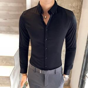 Image 2 - British Style Shirt Men Autumn Formal Wear Solid Men Dress Shirts Long Sleeve All Match Slim Fit Casual Social Shirt Male 3XL M