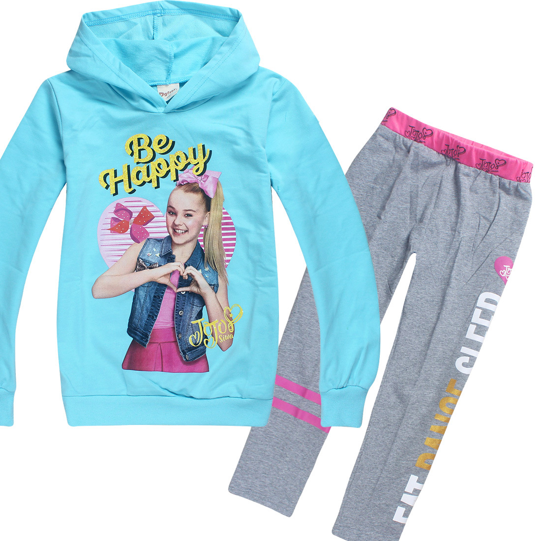 Jojo Siwa Girls Zipper Hoodie Casual Clothes Top /& Cotton Trousers Outfit Set
