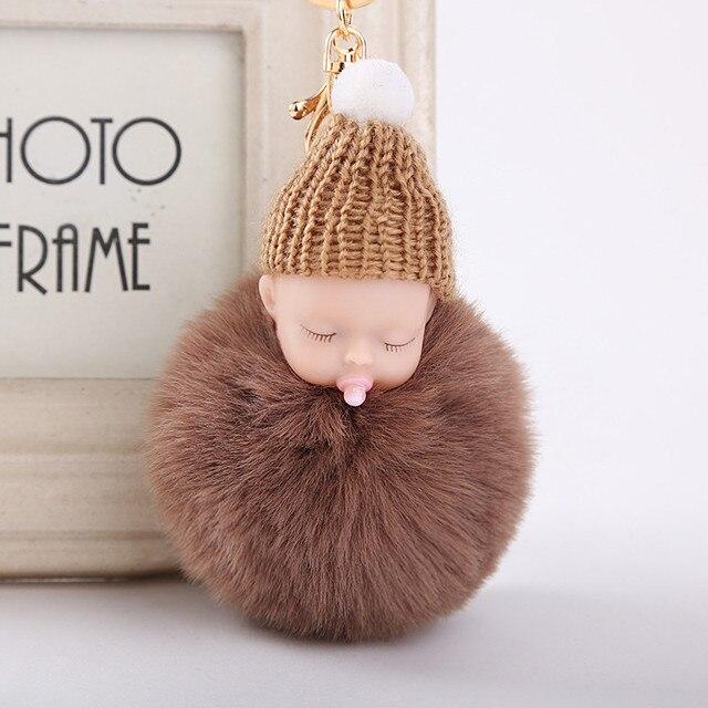 Muñeco durmiendo, chupete con muñeco de peluche, llavero de coche, Bola de piel de conejo de imitación colgante de llavero, llavero, regalo para niña y mujer