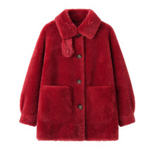 New Granular Lamb Wool Coat Women Autumn and Winter 2019 Patchwork Compound Double-faced Fur Loose Jacket Outerwear