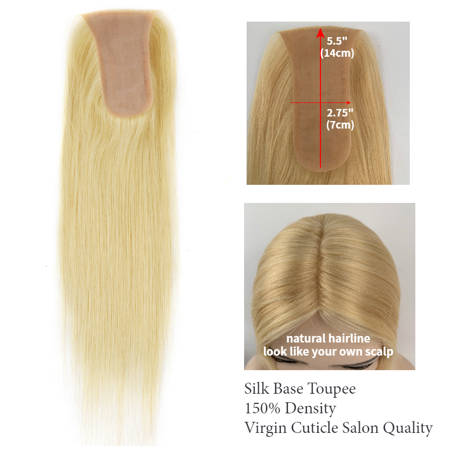 "Neitsi 14"" 14*7cm 5.5*2.75"" Silk Base Virgin Cuticle Woman Remy Hair Tooper Wig Natural Human Hair Pieces Toupee Salon Quality"