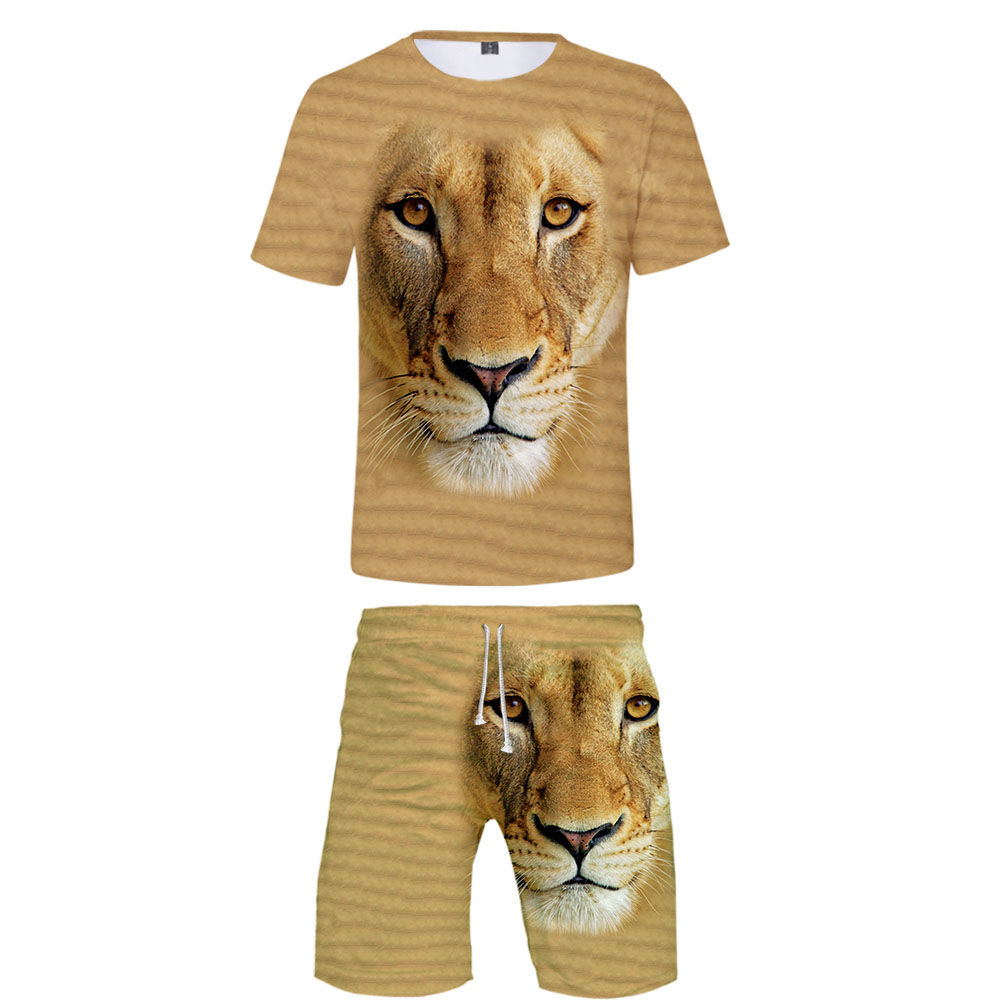 New 3D Animal T-shirt + Beach Shorts Male / Female Hip Hop Summer Casual 3D Tiger Print Boy / Girl Two-piece Fashion Cool