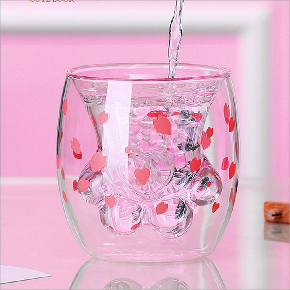 Cute Double Layers Cat Paw Cup 1