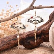 Boucles d'oreilles Style ethnique rétro féerique, bijoux creux à pampilles géométriques en forme d'éventail, pendentifs longs pour femmes