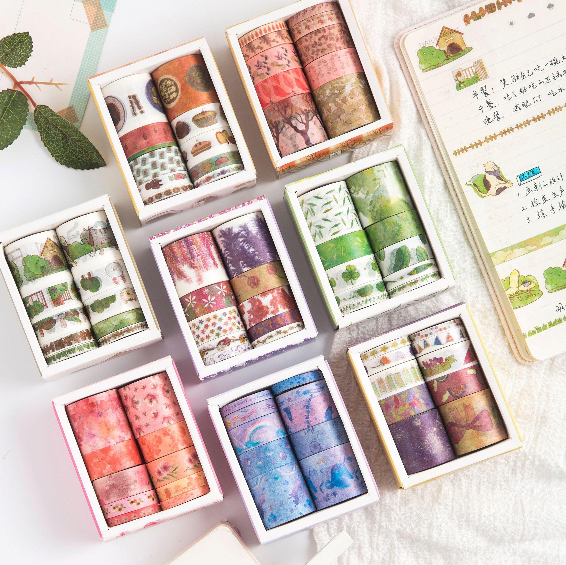 10pcs/box Starry Sky Unicorn Washi Masking Tape Set Sticky Decorative Paper Tape Set DIY Decoration Office Stationery Scrapbook