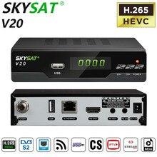 Receptor de tv via satélite skysat v20 hevc h.265 DVB-S2 suporte cs cline newcamd rj45 wifi powervu biss m3u receptor de tv