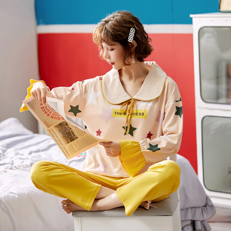 Pajamas Women's Spring And Autumn Pure Cotton Long Sleeve Cute Star Korean-style Sweet Thin Casual-Outer Wear Homewear Set