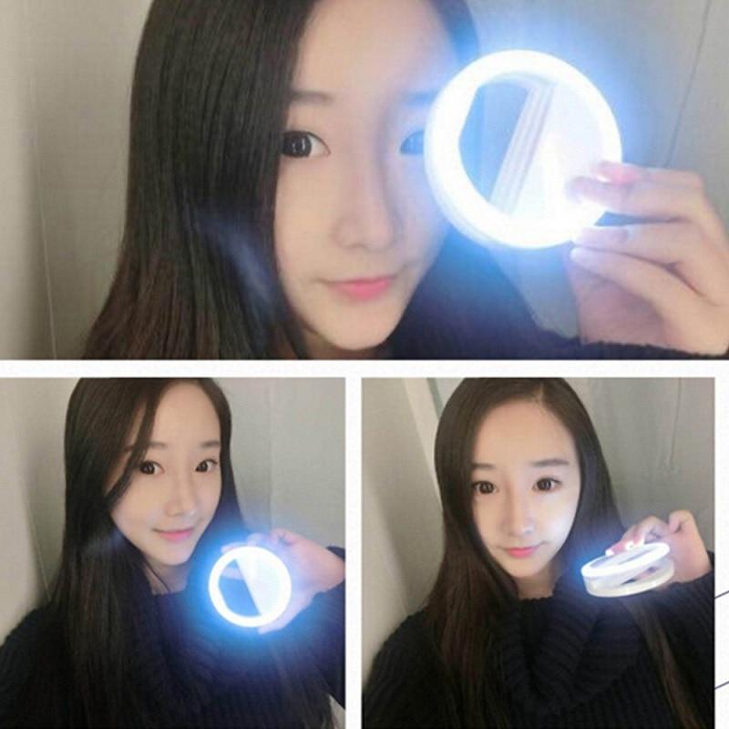 Прямая поставка, светодиодная Кольцевая вспышка для селфи, портативная лампа, светящаяся лампа с зажимом для телефонов iPhone 11, Xiaomi, Samsung A51