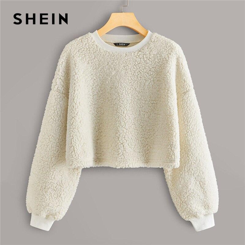 SHEIN White Drop Shoulder Teddy Oversized Sweatshirt Pullover Women Autumn Winter Round Neck Solid Casual Sweatshirts Tops