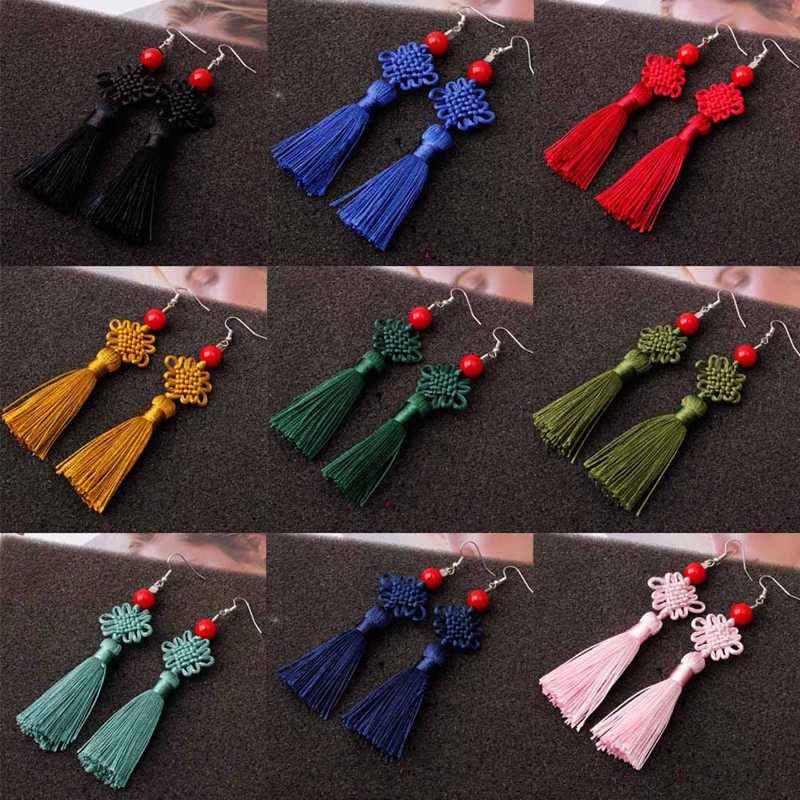 2019 ใหม่สีสันด้าย Braided Knot Tassel ต่างหูผู้หญิง Handmade Lucky Peace Knot ยาว Fringed แขวนต่างหู